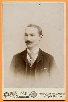 Syracuse, NY, Portrait of a Young Man, by Globe Art Gallery, ca 1890s Backstamp