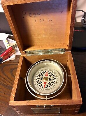 Vintage Olson Boat COMPASS X-796 in the Original Wood Box