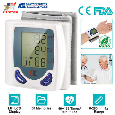 Automatic LCD Digital Wrist Blood Pressure Monitor Heart Rate Pulse Meter US