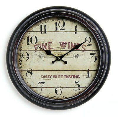 Wall Clock Made of Metal 37cm - France Wine Wine Nostalgic Country House Watch
