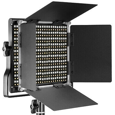 Neewer Professional Metal Bi-color LED Video Light with U Bracket and Barndoor