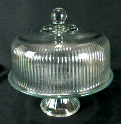 Anchor Hocking Monaco Ribbed Cake Dome & Stand / Punch Bowl Set