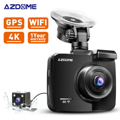 AZDOME Ultra HD 4K Autokamera DashCam WIFI GPS 170° Weitwinkel DVR + Rear Kamera