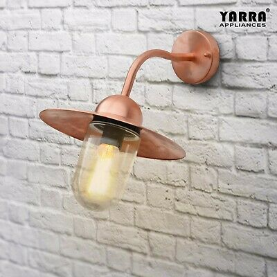 Copper Housing Traditional Antique Style Wall Light Decro Clear glass E27