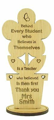 Personalised Teacher Assistant Oak Wooden Flower Thank You Gift Leaving School