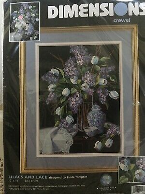 """DIMENSIONS 1529 """"LILACS AND LACE"""" CREWEL EMBROIDERY KIT 2001 USA 12"""" x 16"""""""