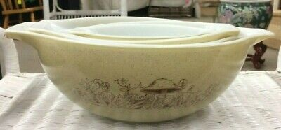 Vintage Set of 4 PYREX Cinderella Mixing Nesting Bowls FOREST FANCIES Mushroom