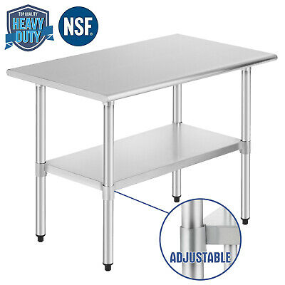 """Commercial Prep Work Table Kitchen w/Adjustable Shelf Stainless Steel NSF24""""x36"""""""