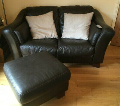 Lovely Dfs Two Seater Brown Leather Sofa With A Foot Stool Good