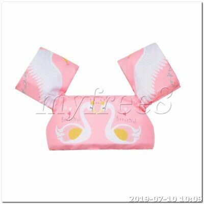 Child Swimming Life Jacket Cartoon Swan Pattern Pink Auxiliary Floating