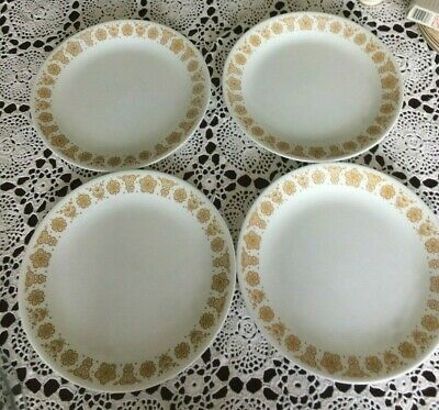 4 Corelle Gold Harvest 10 Inch Dinner Plates Made in the USA