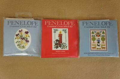 3 x mini Penelope counted cross stich kits : Pansy, Orchard House & Candle