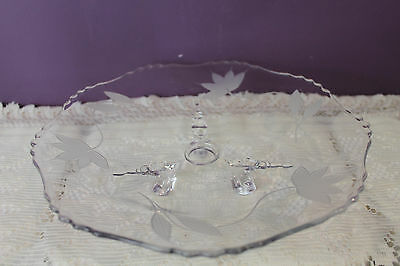 """Beautiful Clear Glass 10-1/2"""" 3-Footed Serving Plate - Floral Etched"""