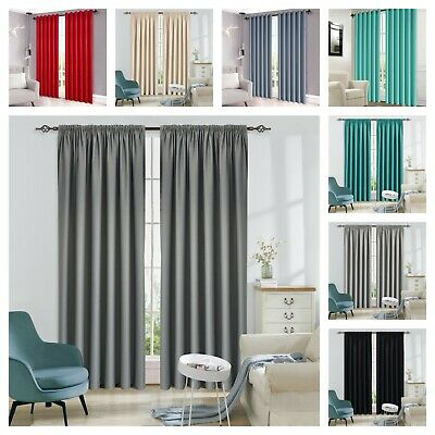 THERMAL BLACKOUT CURTAINS Eyelet / Ring Top OR Pencil Pleat with FREE Tie Backs.