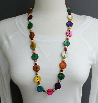 """Multi Color wood disc chunky bead 30"""" long necklace beaded wooden lightweight"""