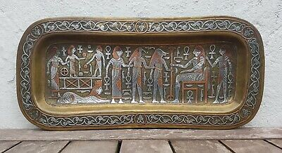 Antique Old Vintage Egyptian Silver Inlay Tray Cairoware Persian Mamluk