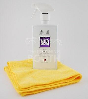 Autoglym Fast Glass Cleaner 500ml with Microfibre Cloth Brand New, FREE UK P&P