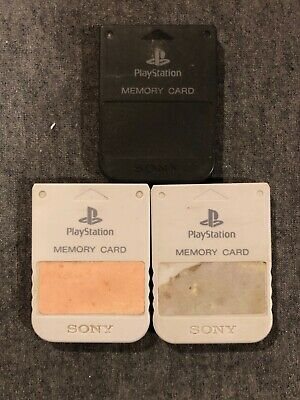 3x Official OEM Sony Playstation 1 PS1 PSOne Memory Card 1MB SCPH-1020