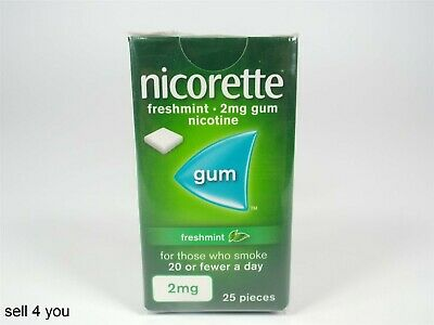 Nicorette Fresh Mint Chewing Gum Stop Smoking Aid - 2mg 25 Pieces