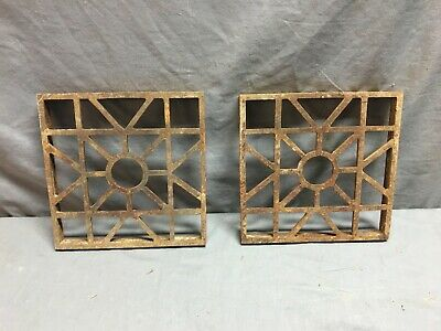 Pair Antique Cast Iron Fireplace Grill Grate 8x8 Wall Ceiling Vent Vtg 81-19J