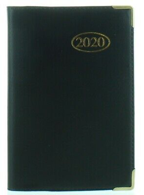 2020 Pocket Week To View PVC Leather Effect Diary With Metal Corners - Black