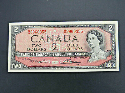1954 $2 Dollar Bank Note Canada N/G3960355 Lawson Bouey UNC Grade Bill Modified