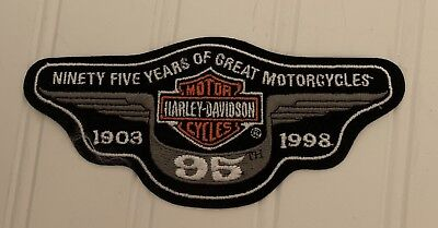 Harley Davidson 95 Years Motorcycle Box Map Patch 1998 Anniversary