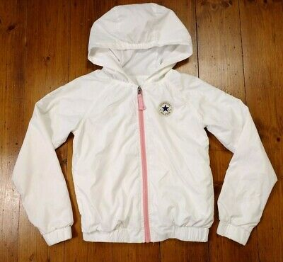 Girls Converse White Pink Full Zip Tracksuit Jacket Shell Coat Size 10-12 Years