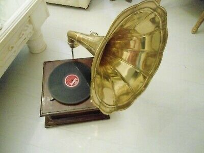 vintage gramaphone brass horn his masters voice wind up