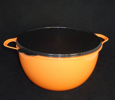 Tupperware Mega Thatsa Bowl Mixing 42 Cups Orange & Black Seal New