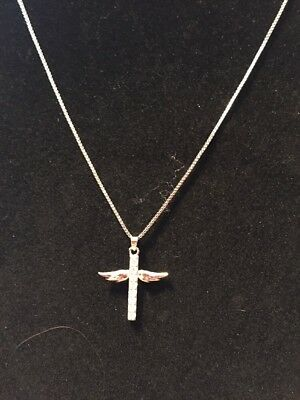 What a beautiful Hand Inlaid AAA Zircon Angel Wings Cross Pendant Necklace