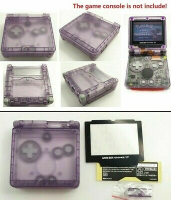 GBA SP Game Boy Advance SP Replacement Housing Shell Clear Purple GLASS