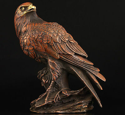 Vintage Collection Bronze Statue Lifelike Eagle Box Casting