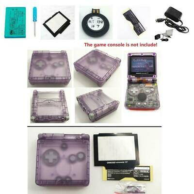 NEW GBA SP Game Boy Advance SP Replacement Housing Shell Clear Purple USA!