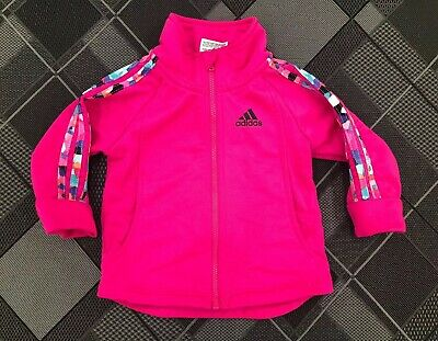 Adidas Zip Up Jacket Baby Girls Size 12M 12 - Hot Pink Lightweight Track Jacket