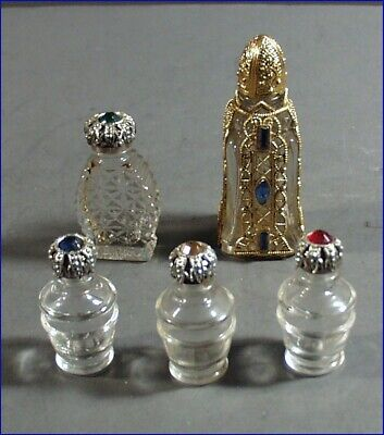 5 Vintage Small Glass Perfume Bottles, Faceted Stones & Filigree, 1 Overlay