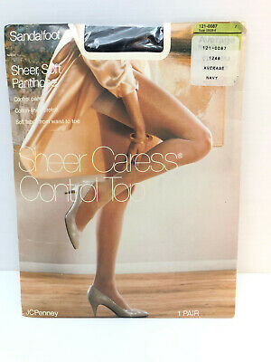 Vtg 90s NOS Pantyhose Control Top Sheer Caress AVERAGE Sandalfoot JC Penney NAVY