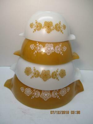 Vintage Pyrex Butterfly Gold Cinderella Mixing Nesting Bowls Set of 4 USA