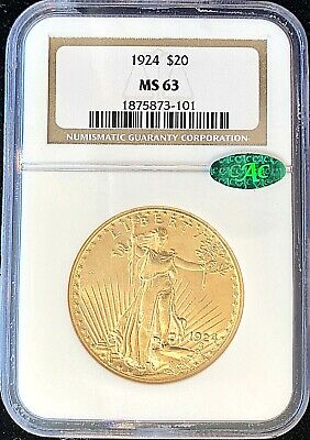 1924 - $20 American Gold Double Eagle Saint Gaudens MS63 NGC Certified CAC!