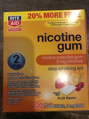 RITE AID NICOTINE GUM 2 MG FRUIT FLAVOR SMOKING AID 120 CT Exp 5/19 Read