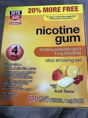 RITE AID NICOTINE GUM 4MG SIGAR FREE FRUIT FLAVOR 120 PIECES Outdated 5/19