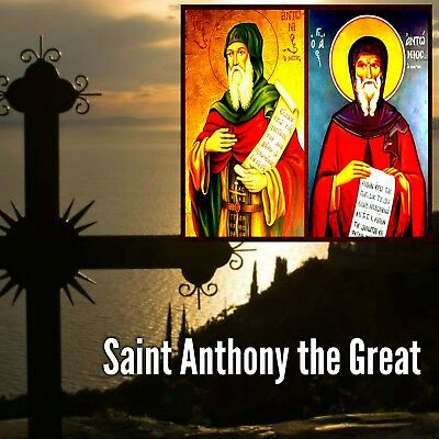 Orthodox icon Saint Anthony the Great laminated blessing for your wallet