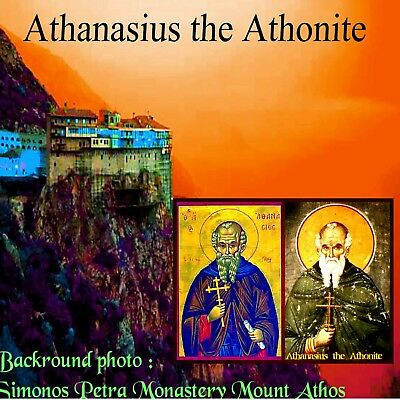 Orthodox laminated icon blessing for wallet  32 Athanasius the Athonite