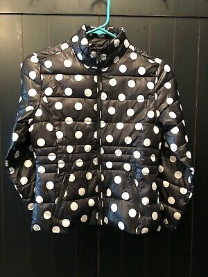 Justice Quilted Jacket Girls Coat Size 10 Black White Polka Dots