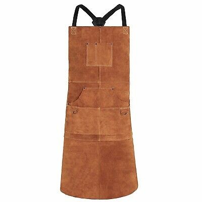 Long Leather Bib Welding Apron Heat Flame Work Safety Resistant Heavy Duty Brown
