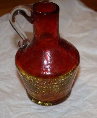 "Vintage Blenko Crackle Glass Amberina Tangerine Pitcher 4 1/2"" Tall"