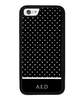 Black White Square Polka Dot Personalized Phone Case for all Apple iPhone Models