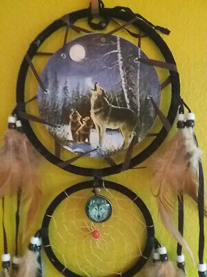 """HUGE 27"""" NATIVE AMERICAN DESIGN Howling WOLF Pack  DREAMCATCHER &  WOLF AMULET"""