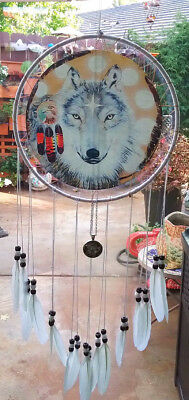 """25"""" Native American Design Wolf Dreamcatcher With Wolf Totem Amulet, 3Rd Eye"""