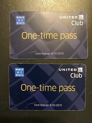 2 United Airlines Club One-Time Pass - Expires 9/30/2019
